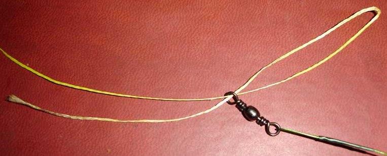 как привязать поводок к основной плетеной леске